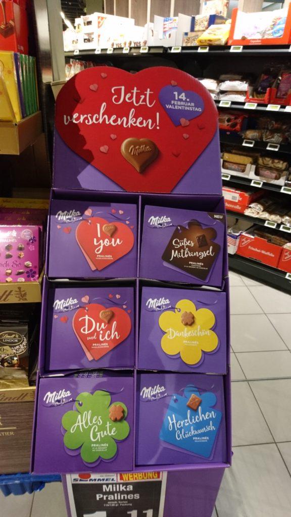 ドイツチョコMilkaのバレンタインコーナー