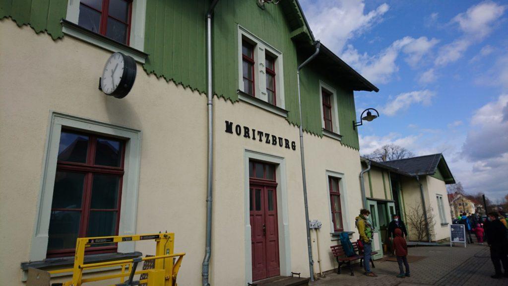 モーリッツブルクの蒸気機関車の駅